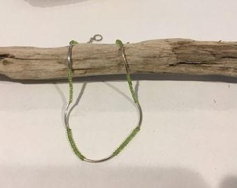 Peridot tube Necklace