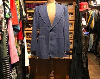 Mens Vintage 1970s 100% Cotton Denim Blazer Jacket