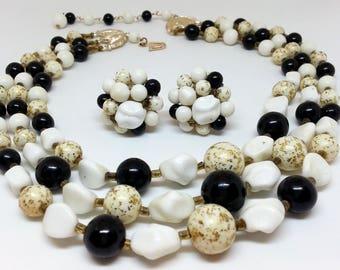 Black Gold White Bead Necklace Clip Earrings Set, Vintage 1950s Japan Costume Jewelry, Demi Parure