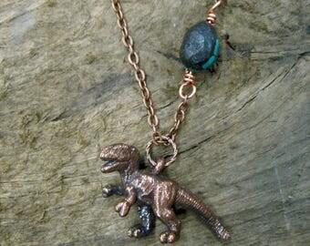 copper t-rex pendant necklace