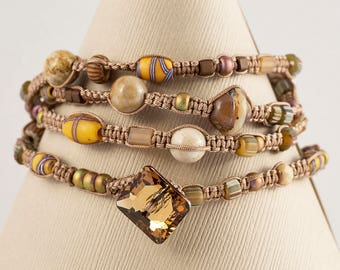 4 -Strand Macrame Wrapped Bracelet- (Swarovski Button- African Beads- Fossil Coral- Chez Glass- Seed Beads)