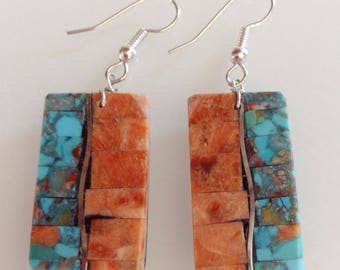 Santo Domingo Mosaic Turquoise Apple Coral Jet Inlay Dangle Earrings - Tim Bailon