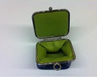 Danier Genuine Leather Small Coin Purse / Blue Leather Mini Coin Purse  /