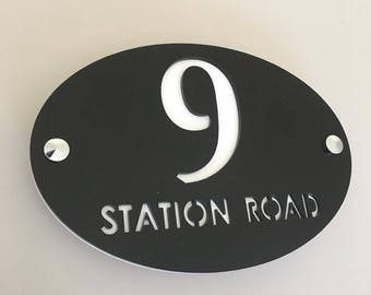 Oval House Number & Name Sign - Several Colour Choices - Includes Chrome Fixing Kit