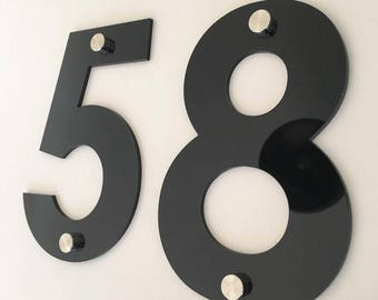 Century Gothic Font, Drilled Finish, House/Shop/office Names and Numbers with fixings - Several Colours and Sizes