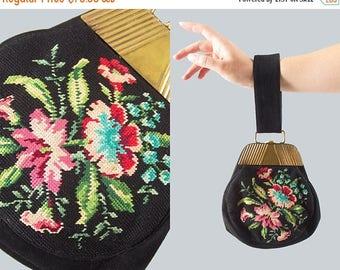 20% OFF SALE Vintage 1930s Purse | 30s Floral Tapestry Embroidered Petit Point Black Suede Wristlet Handbag