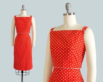 Vintage 1960s Dress | 60s LANZ Red Polka Dot Cotton Sundress Button Back Wiggle Sheath Dress (xxs)
