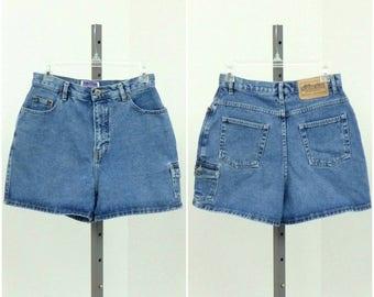 "Vintage 90s High Waisted Denim Shorts, Blue Jean Shorts, High Rise Shorts, Mid Thigh Shorts, High Waist Shorts, Short Shorts, 28"" Waist"