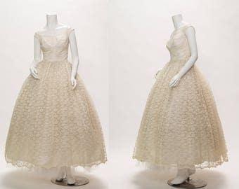 white lace wedding dress vintage 1950s • Revival Vintage Boutique
