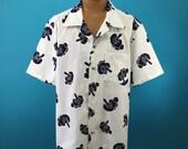 Vintage yukata shirt, indigo dye, Japanese long-nosed goblin, unusual design, Cotton kimono Hawaiian shirt, Japanese fabric, US size L