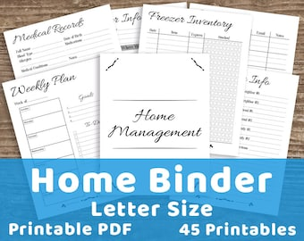 Home Management Binder Printable, Home Binder, Home Management Planner, Mom Binder, Household Binder, Family Binder, Mom Planner, Homemaking