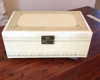 large vintage jewelry box organizer 50u0027s cream jewelry display case retro collectible jewelry prop jewelry