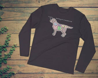 Anatomy of a Chocolate Lab - Funny Labrador Retriever Tee - Long Sleeve Fitted Crew