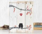 Rustic Wall Decor Wood Signs Reclaimed Wood Art Love Bird Art Farmhouse Wedding Gift for Couple 5th Anniversary Gift Wood Wall Art Love
