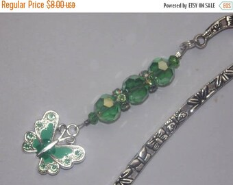 15%OFF Green Glass and Green Crystal encrusted Silverplated Beads Enameled Green Butterfly Bookmark