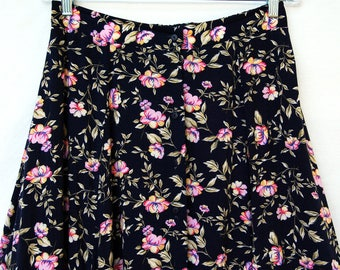 Vintage 90s Floral Rayon Womens Skirt sz 14 Grunge Long Boho Hippie Clothing Navy Blue Pink Rose
