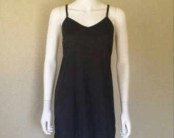 ON SALE Basic 90s black slip dress