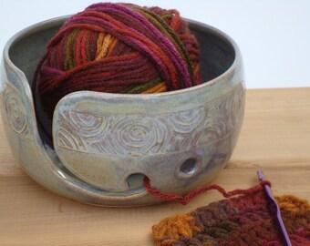 Pottery Yarn Bowl, Ceramic Knitting Bowl, Crochet bowl, yarn holder, rustic, Northern Light glaze, for knitters
