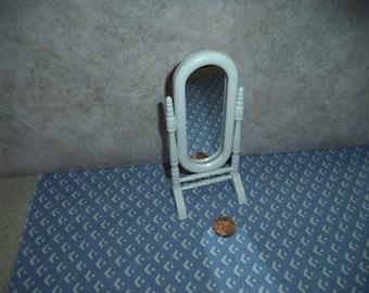 1:12 scale Dollhouse miniature White standing swivel Mirror