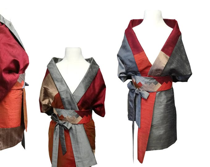 Silk stole with an Obibelt in Asian style  Block pattern - REVERSIBLE SUNSET