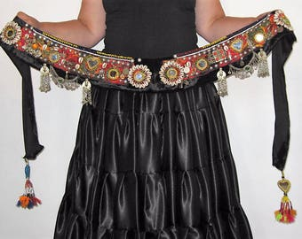Tribal belt, Tribal belly dance, Belly dance, Tribal fusion ATS belly dance belt, Tribal tassel belt, Kuchi belt, Tribal shell belt,