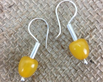 Vintage bakelite and hand forged sterling silver earrings