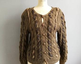 Vintage brown twist knit cardigan // boho brown wool cardigan // sparkle knit cardigan // 1970s cardigan // boho sweater // winter cardigan