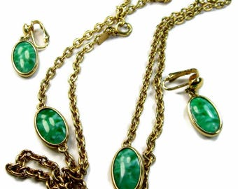 Green Marbled Glass Necklace and Earrings Set Signed Emmons