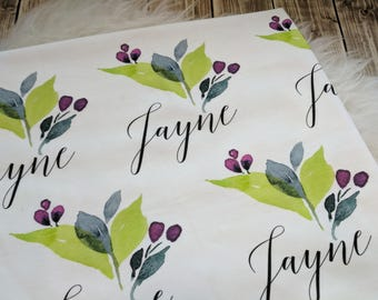 Personalized watercolor swaddle blanket: baby and toddler personalized name newborn hospital gift baby shower gift