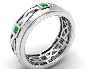 Men Emerald Ring, 14K White Gold, Princess Cut, Men Wedding Ring,Anniversary Ring, Men Emerald Engagement Ring, Eternity Ring, Men Ring/Band