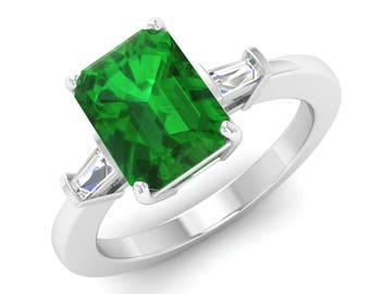 AAA Green Emerald Ring, 14K White Gold, Emerald & VS Diamond Engagement Ring, Emerald Cut, Anniversary Ring, Wedding Ring, Certified Emerald