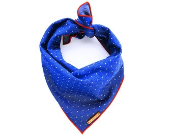 Cambridge Pindot dog bandana, preppy polka dot pet bandana, red white and blue dog scarf, puppy bandanna
