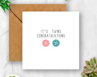 Button Congratulations It's Twins Card (Girl and Boy), New Baby Card, Card for Twins, Baby Twins Card, Boy and Girl Twins Card, Twins