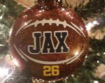 Football ornament- Glittered & Personalized