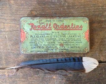 antique rexall orderlies laxative tin / vintage laxative tin / pocket size tin / medicinal tin / bathroom decor
