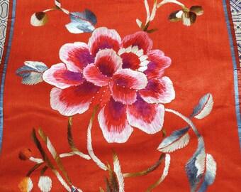 Embroidered Silk Panel Chinese Peony Hummingbird 1900s Handmade