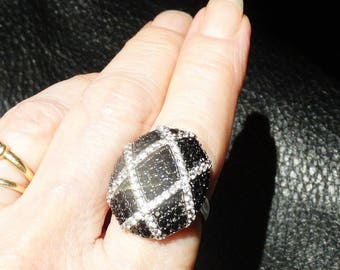 Black Spinel Ring,  White Topaz, Art Deco Style, Sterling Silver