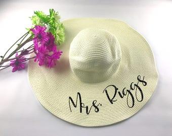 Bride Beach Hat - Honeymoon Beach Hat - Mrs. Beach Hat - Personalized Beach Hat - Personalized Floppy Hat -  Bridal Party Gift - Bride Gift