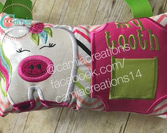 Unicorn Tooth Fairy Pillow - Girl Tooth Fairy Pillow