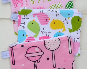 Eco Friendly Reusable Snack Bag - Pink Elephant, Spring Bird, Pink Lollipop