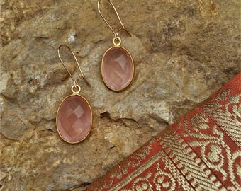 Rosequartz earrings, gemstone eaarrings, gold plated jewelry, gold filled earrings, gemstone, crystal, yoga gift, birthday, rose, pink stone