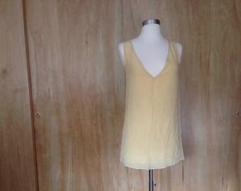 French Butter Cream v-neck slip dress XS sheer crepe silk