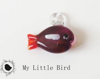 1 x 22mm purple fish keychain