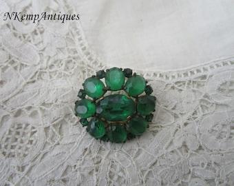 Green glass brooch 1930's