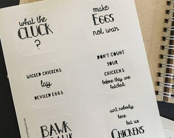 Chicken Stickers; journal stickers; illustrated journal stickers, bullet journal stickers; planner stickers