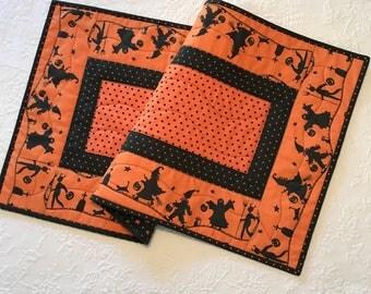 "Orange and Black Halloween Table Runner, Halloween Decor, 16.5"" X 33"""