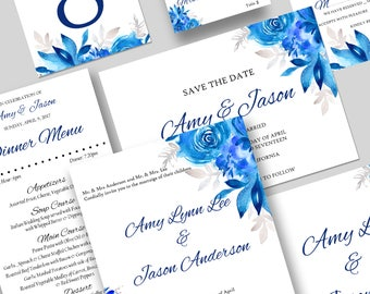 Blue Watercolor Floral Wedding Invitations, Romantic Wedding Collection, Spring Wedding, Romantic Wedding Stationery - BUILD YOUR OWN