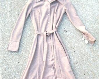 CLEARANCE Vintage Dress, Light Brown Dress, Tan Dress, Oatmeal Dress, Brown Dress, Vintage Brown Dress, Long Sleeve, Button Down Dress, Belt