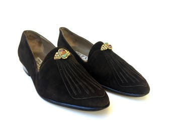 Stylish 1980s 'Vogue's by Marco Massetti' black suede loafers with stitched toe detail and gem buckles / Made in Italy