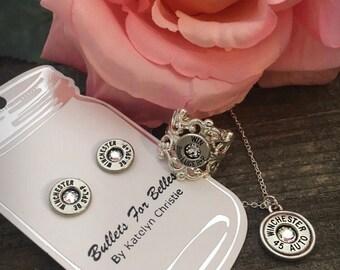 Bullet jewelry, women's jewelry, bullet necklace, bullet ring, bullet earrings set